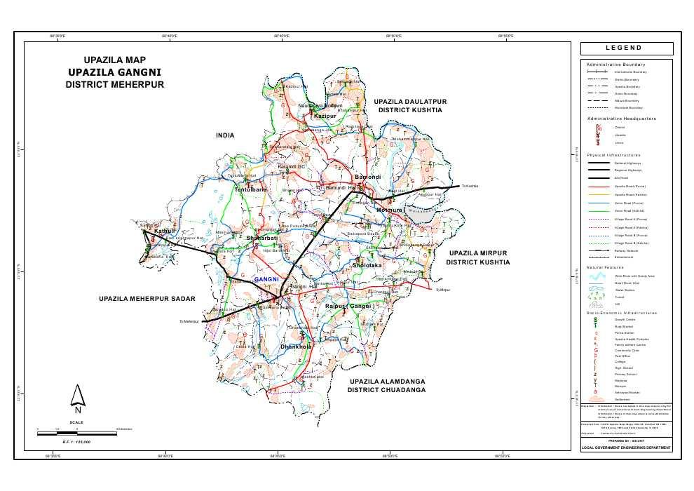 Gangni Upazila Map Meherpur  District Bangladesh