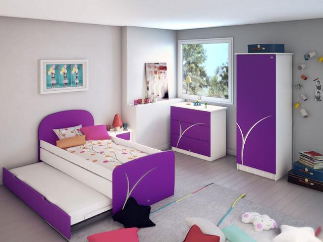 d coration chambre fille violet. Black Bedroom Furniture Sets. Home Design Ideas