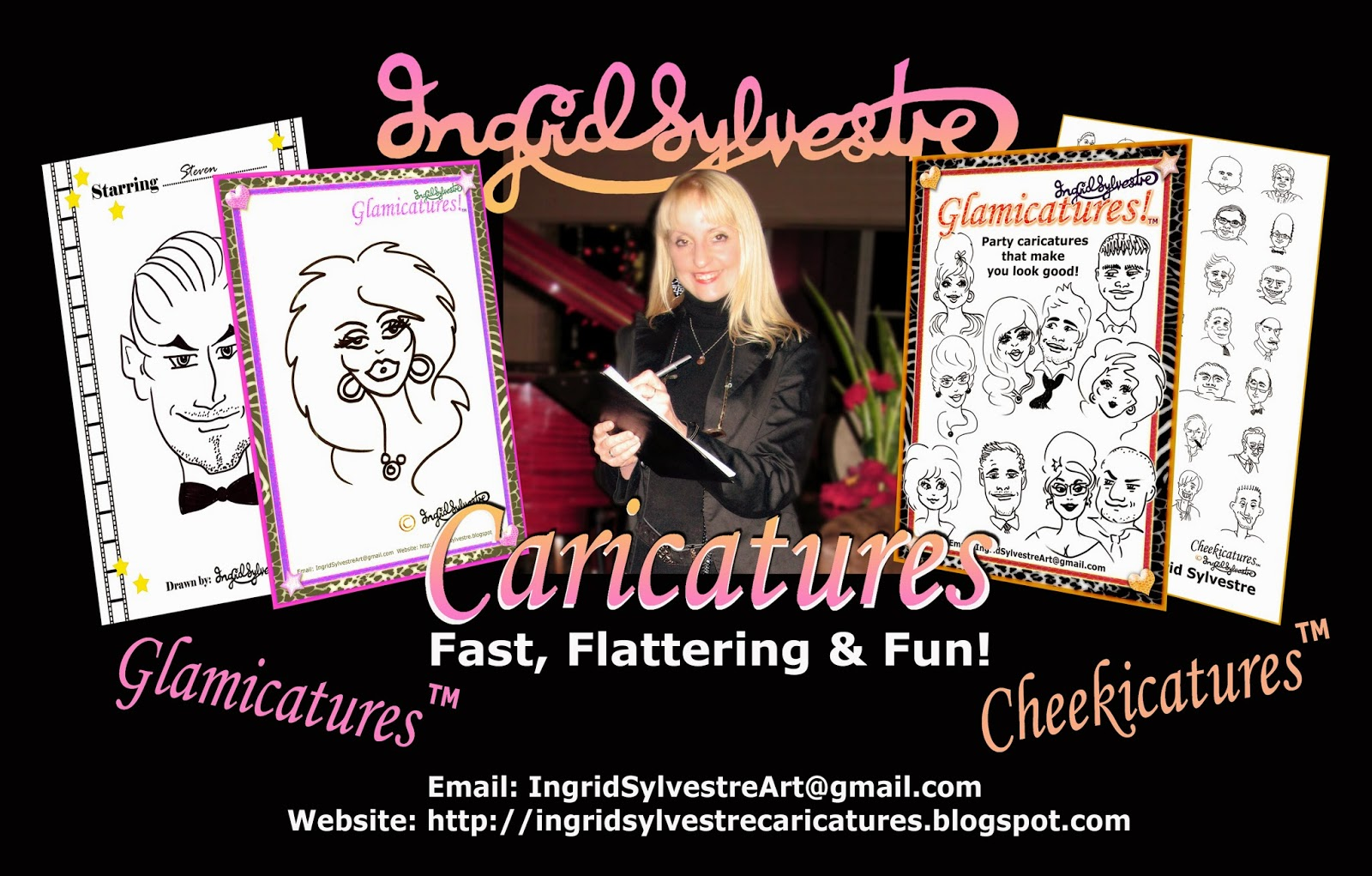 Ingrid Sylvestre Caricatures - Fast, Flattering and Fun - Glamicatures TM and Cheekicatures TM - North East Entertainment Northeast Wedding Entertainment ideas Luxury Wedding Entertainment ideas North East UK County Drrham Newcastle upon Tyne Sunderland Middlesbrough Teesside Northumberland Yorkshire Darlington Corporate Events Entertainment Christmas Party Entertainment Proms Anniversaries Birthdays Conferences Top Business Awards Launch Ceremonies Caricatures that make you look your best