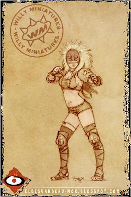 concept art o diseño para la cuarta Blitzer del equipo de Amazonas de Willy Miniatures hecho por ªRU-MOR, para Blood Bowl fútbol medieval de fantasía compatible con Warhammer