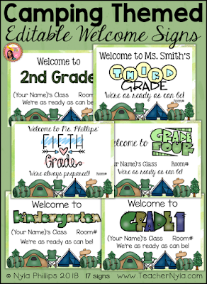 Camping themed welome signs editable