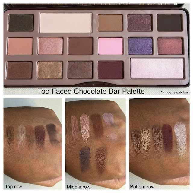 Too Faced chocolate bar palette swatches on dark skin