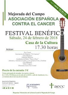 Cartel del Festival Benéfico contra el Cáncer en Mejorada del Campo, febrero de 2018
