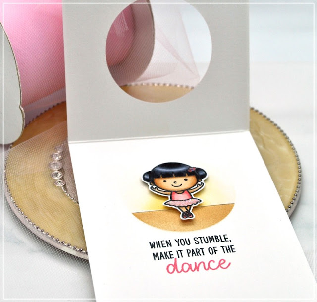 Sunny Studio Stamps: Tiny Dancers Ballerina Card with Sequin Window by Debbie Olson