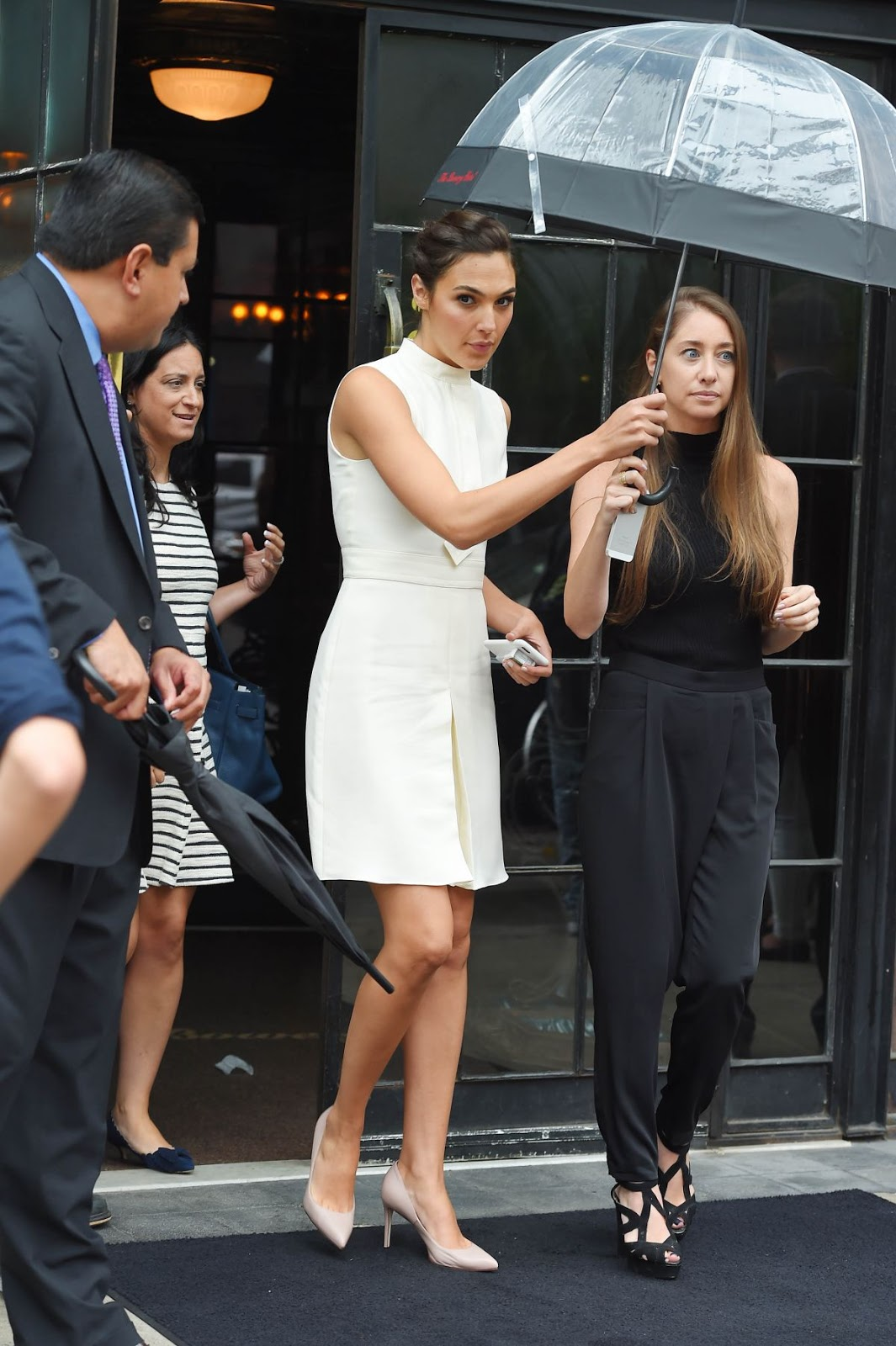 HQ Photos of Gal Gadot in White Dress as she Leaves Her Hotel In New York City