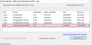 HDD Low Level Format Tool ver.4.40 réparer le frimwire de la clé USB Transcend JetFlash 330