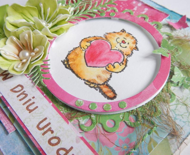 Kartka z kotkiem kolorowanym kredkami akwarelowymi