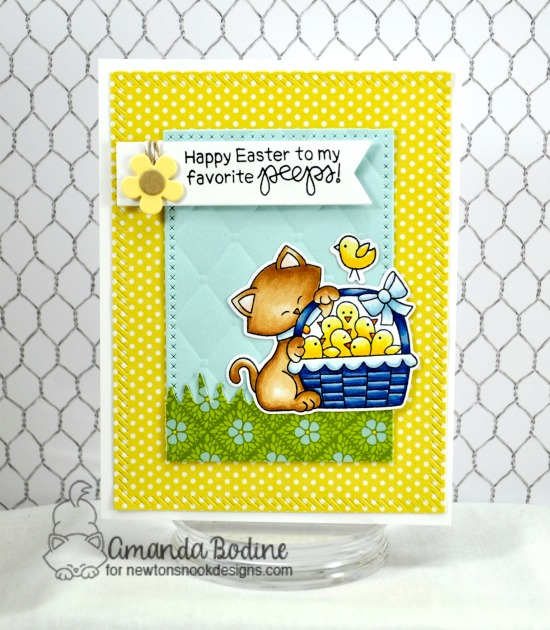 Kitty and chicks Card by Amanda Bodine | Newton's Peeps Stamp Set by Newton's Nook Designs #newtonsnook #handmade