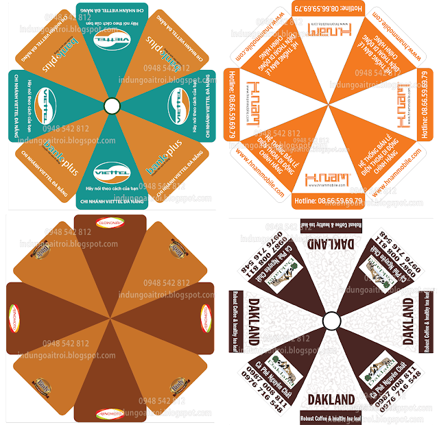 Mẫu thiết kế dù quảng cáo Cafe, dù quảng cáo Hnam Mobile, dù quảng cáo Viettel