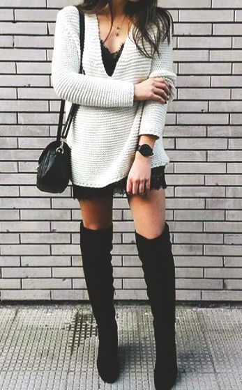 trendy fall outfit / sweater + bag + lacer dress + over the knee boots