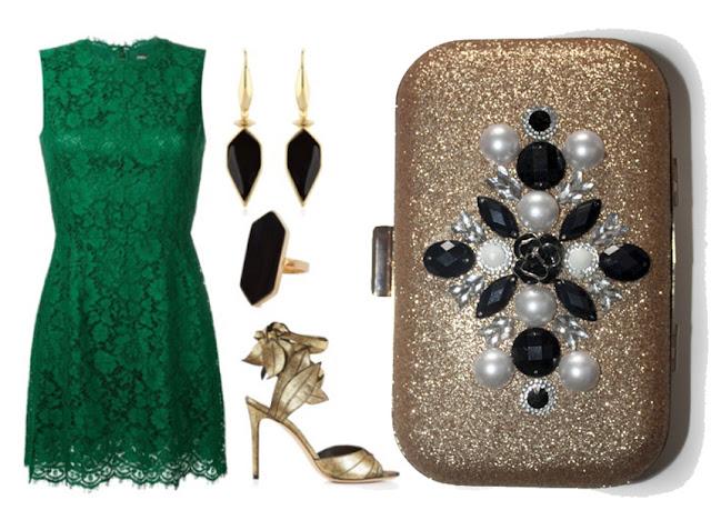 Como combinar un vestido verde con un bolso dorado