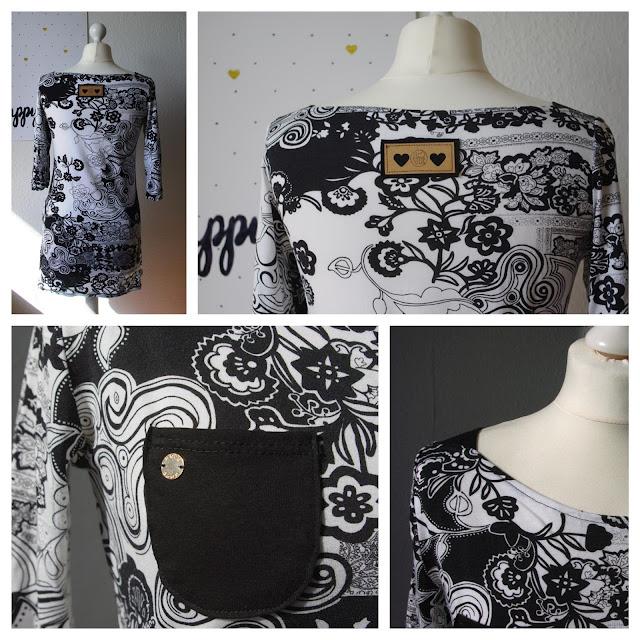 Collage Shirt Frau Marlene aus Stoff mit Blumen Schnittmuster von frizi & schnittreif selbst genähte Damen Oberteil Longsleeve mit Schultereinsätzen Schwarz Weiß