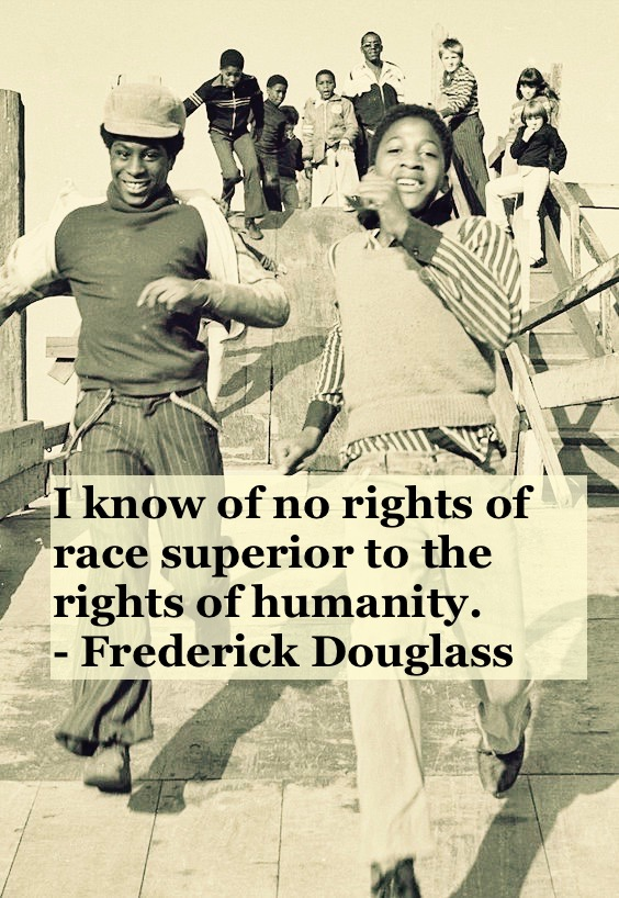 Photo of young black men running and playing. c 1960s Rights of Humanity quote by Fredrick Douglass. Other stories of Racism and Civil Rights. Well said, Mr. Douglass. marchmatron.com