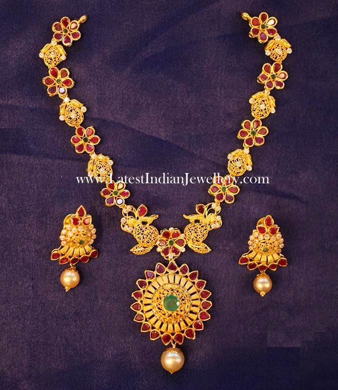 22 Karat Ruby Gold Necklace