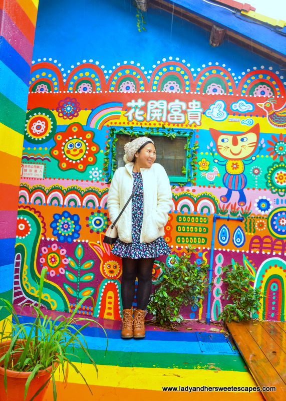 Lady in Rainbow Village in Taichung