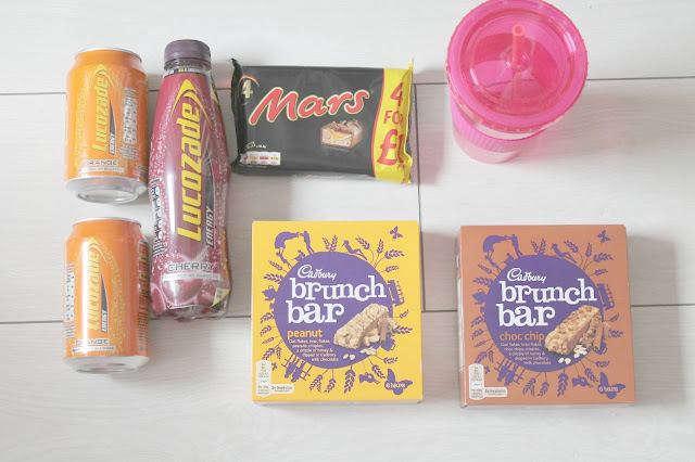 hospital bag for giving birth sugary snacks in the form of lucozade drinks chocolate and cereal bars