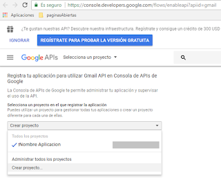 Creando proyecto API Gmail