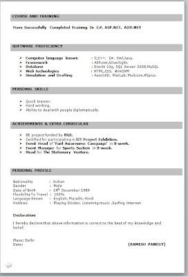 Resume Format For Fresher Free Job Cv Example