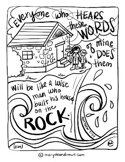 A life on the rock matthew 7 24 bible coloring page in for Wise man foolish man coloring page