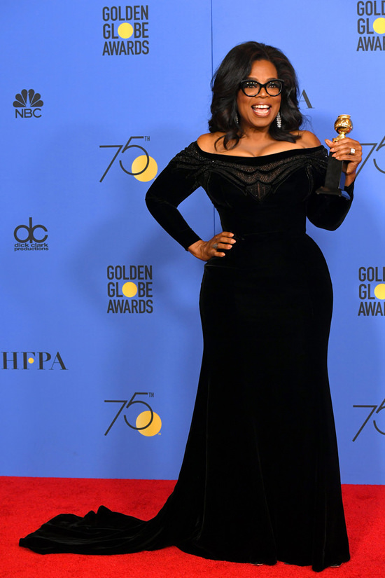 oprah winfrey in versace golden globes 2018 cecil b. demille award