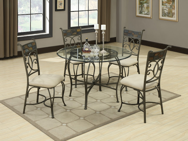 excellent gray metal dining room chairs along with fabulous round glass table and the candle on top