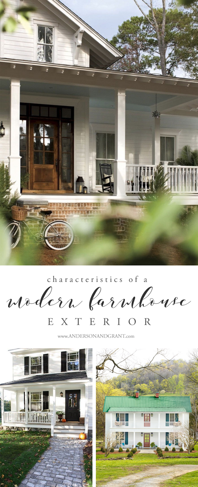 Learn the common characteristics to look for in the modern farmhouse trend #farmhouse #modernfarmhouse #farmhouseexterior #farmhousedesign