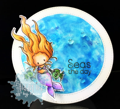 Tiddly Inks, Kecia Waters, Copic markers, Distress Oxides, mermaid