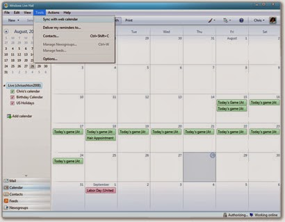Issue problem bug sync windows live mail calendar