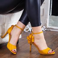 Sandale Ramani galbene cu toc