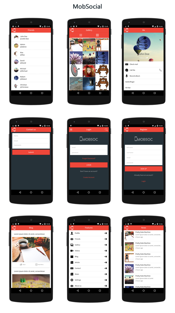 MobSocial - Ionic Cordova Phonegap Hybrid App Template and WordPress - 2