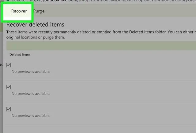 استعادة الرسائل المحذوفة من بريد الإلكتروني Hotmail او Outlook بدون برنامج