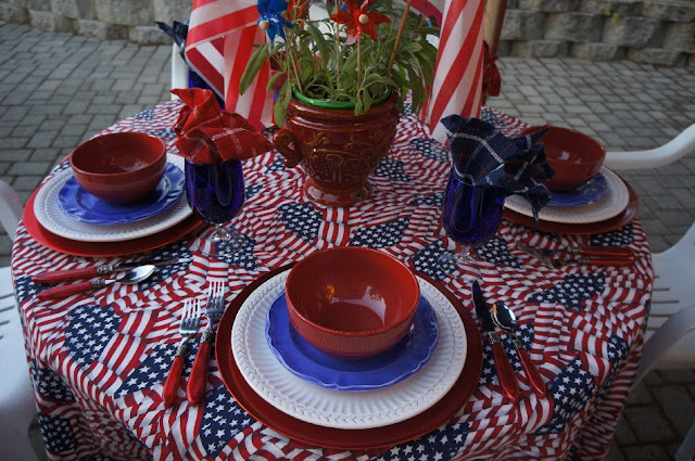 a pretty colorful tablescape for Patriotic events.
