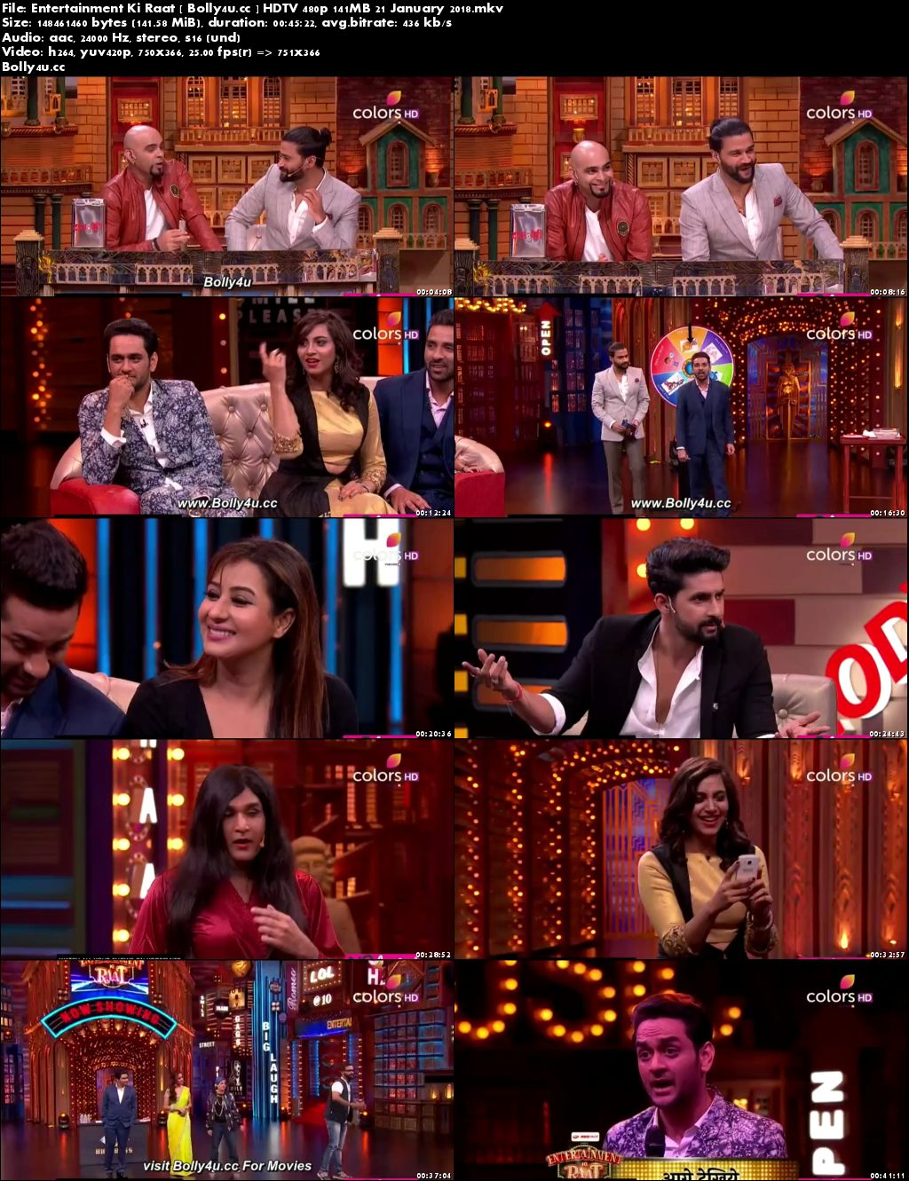 Entertainment Ki Raat HDTV 480p 140MB 21 January 2018 Download