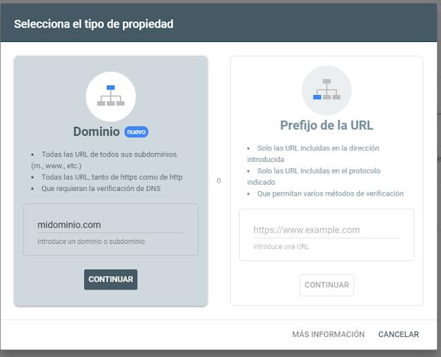 Google search Console - registrar dominio en nueva propiedad