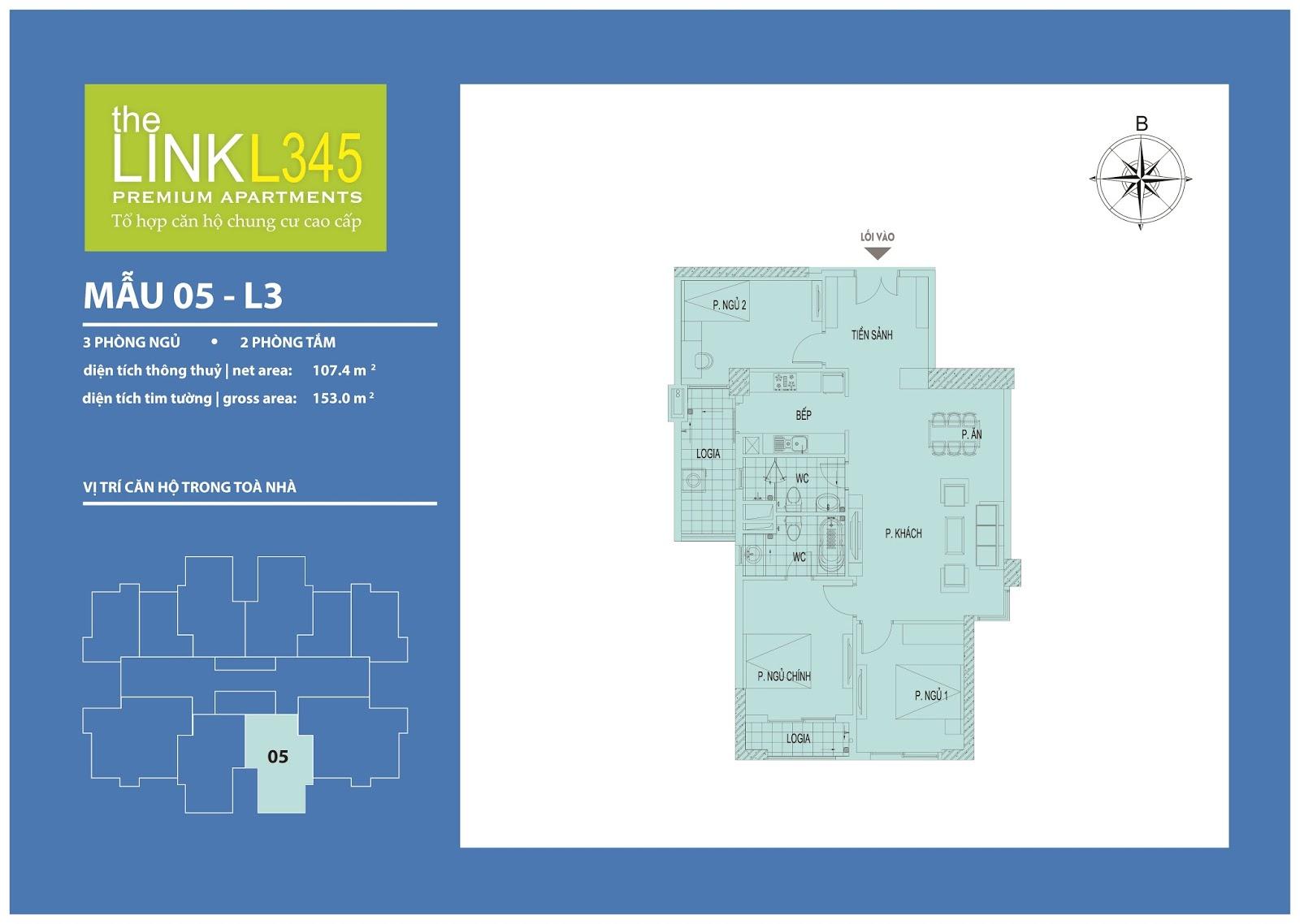 Mặt bằng chi tiết căn hộ 05 - L3 The Link Ciputra