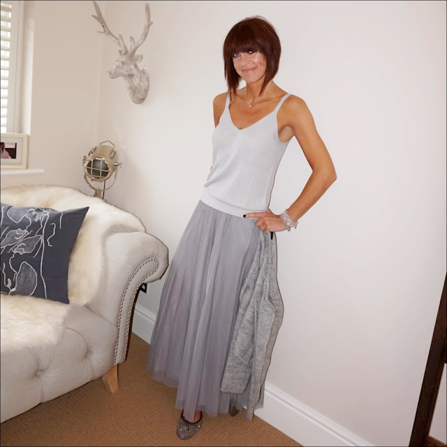 My midlife fashion, marks and spencer mesh maxi skirt, hm knitted vest top, sparkly ballet pumps