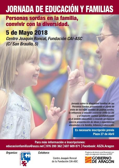 Cartel de la Jornada de Educación y Familias organizada por la Agrupación de Personas Sordas de Zaragoza y Aragón