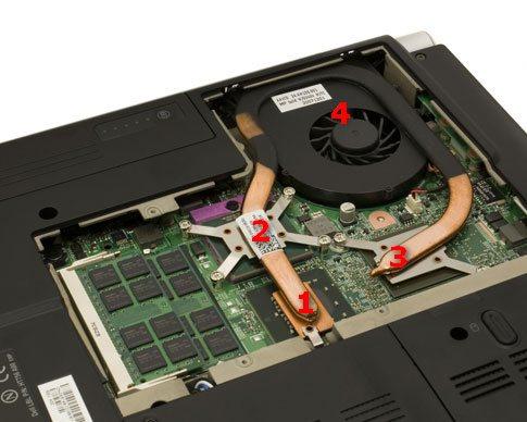 Схема системы охлаждения ноутбука