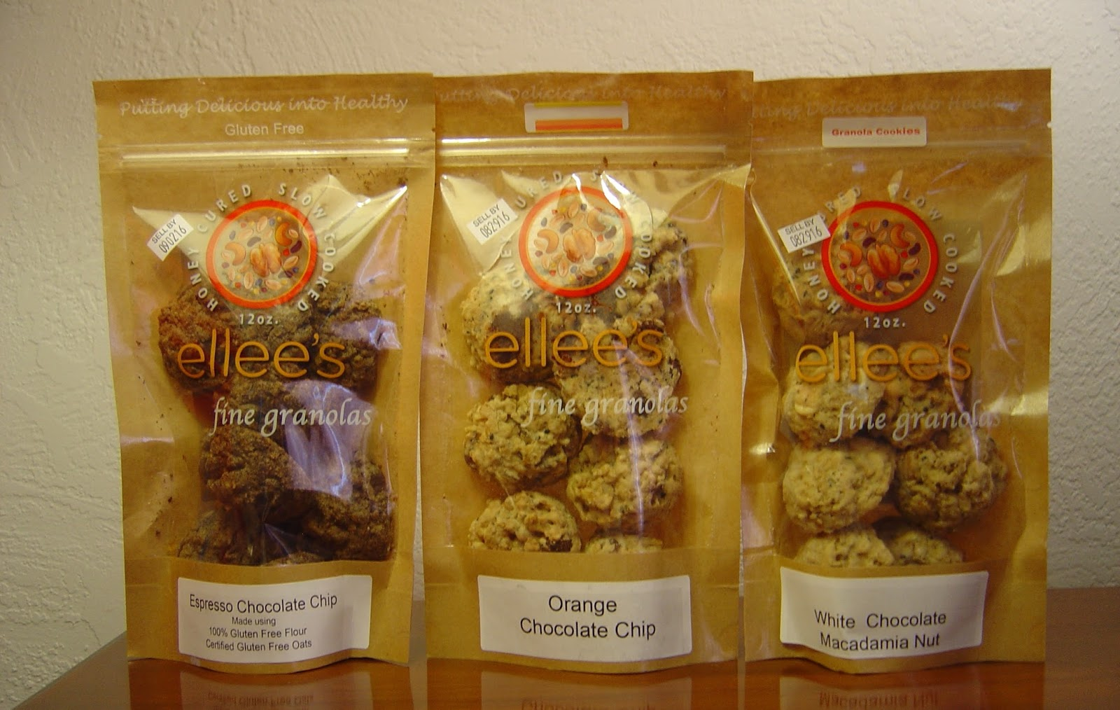 Ellee's Gourmet Granolas Espresso Chocolate Chip, Orange Chocolate Chip, and White Chocolate Macadamia Nut Granola Cookies