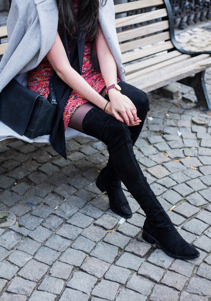Outfit: sweater dress, lthigh high boots