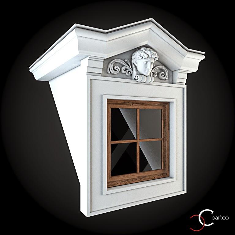 Ornamente Geamuri Exterior, fatade case cu profile decorative polistiren, profile fatada,  Model Cod: WIN-092