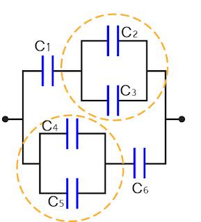 Contoh Sebuah rangkaian Seri-paralel Kapasitor