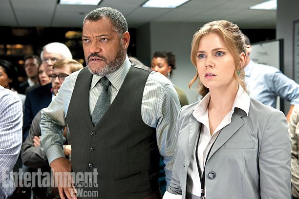 Man of Steal - Laurence Fishburne as Perry White and Amy Adams as Lois Lane