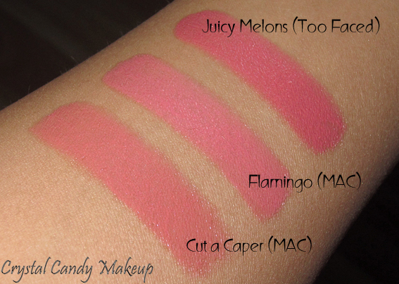 Rouge à lèvres (Lipstick) Flamingo de MAC (Collection All About Orange) - Review - Swatch - Too Faced Juicy Melons - Cut a Caper