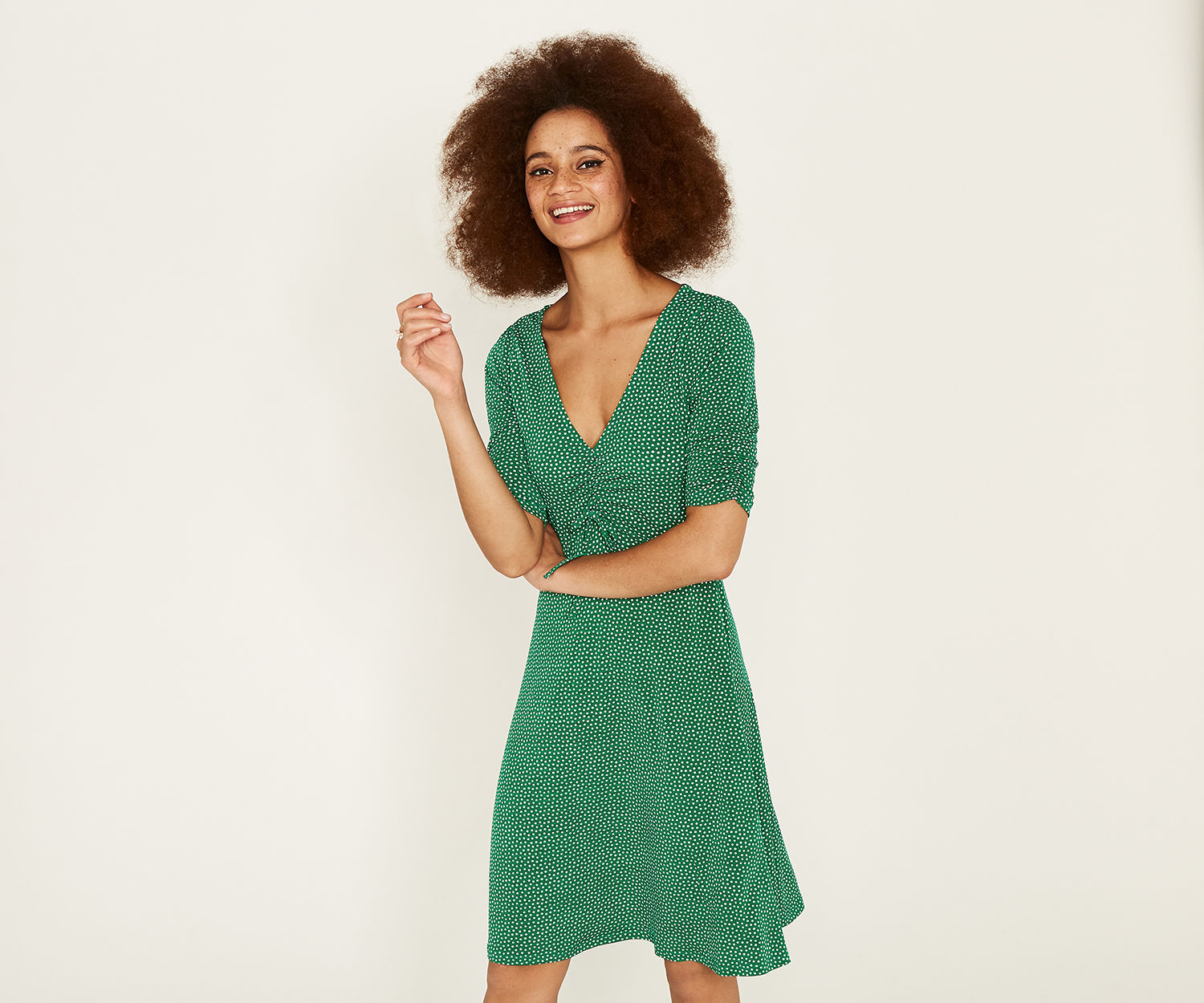 Oasis Green Spot Ruched Tea Dress - UK style blog