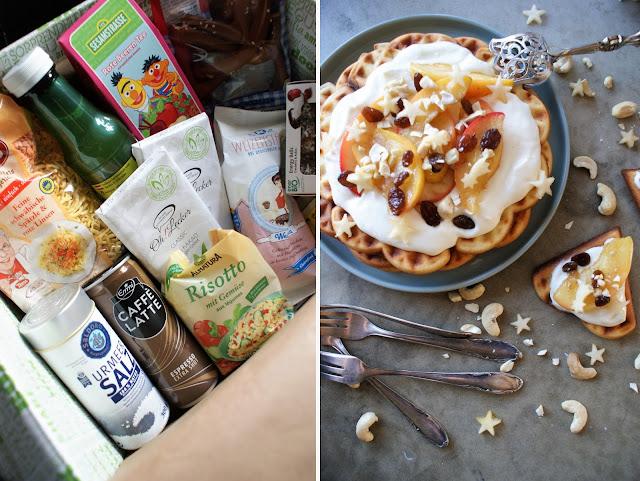 Waffeln mit Bratapfel und Vanille Creme