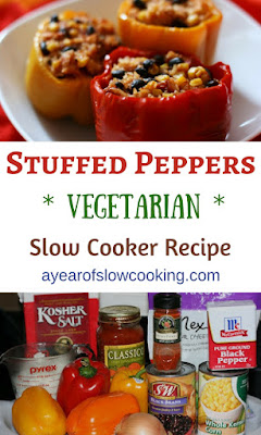 Vegetarian stuffed (can be vegan!) Bell Peppers. I like how this recipe uses pantry staples like canned beans and pasta sauce. It's so easy, and it can be done all in the crockpot. :-)