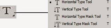 Horizontal Type Tool, Vertical Type Tool, Horizontal Type Mask Tool, Vertical Type Mask Tool (T)