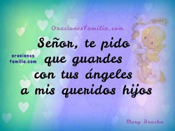 imagen de oración Señor protege a mis hijos con angeles