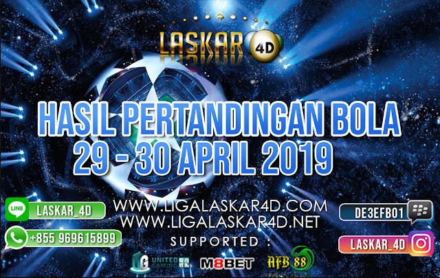 HASIL PERTANDINGAN BOLA 29 – 30 APRIL 2019